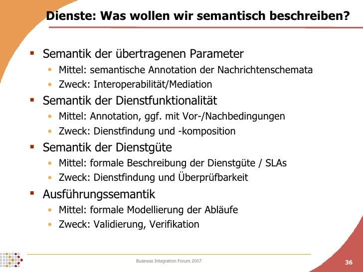 Dienste: Was wollen wir semantisch beschreiben? <ul><li>Semantik der übertragenen Parameter  </li></ul><ul><ul><li>Mittel:...