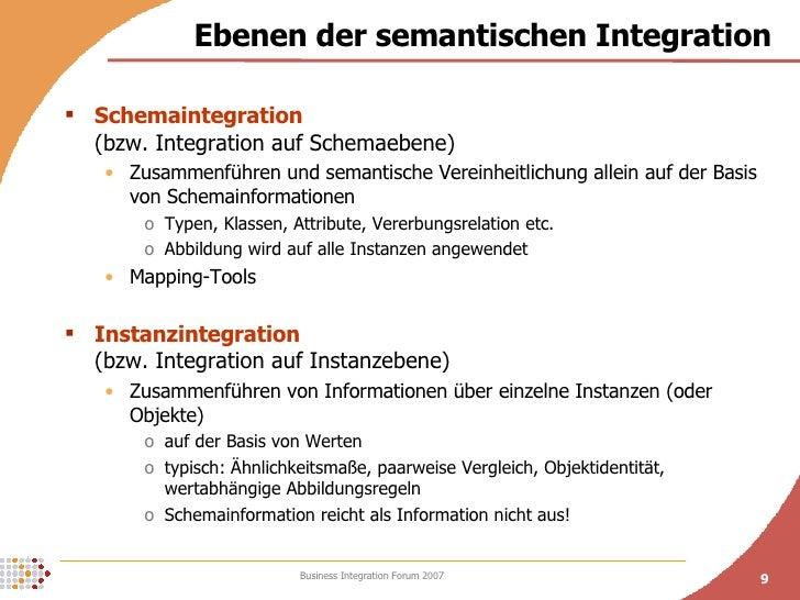 Ebenen der semantischen Integration <ul><li>Schemaintegration   (bzw. Integration auf Schemaebene) </li></ul><ul><ul><li>Z...