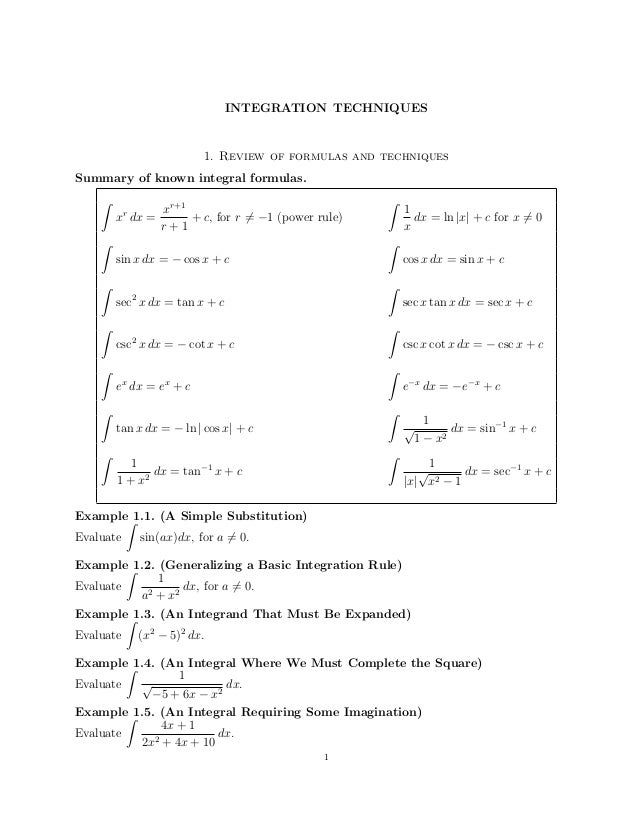 INTEGRATION TECHNIQUES  1. Review of formulas and techniques Summary of known integral formulas. ˆ  xr+1 x dx = + c, for r...