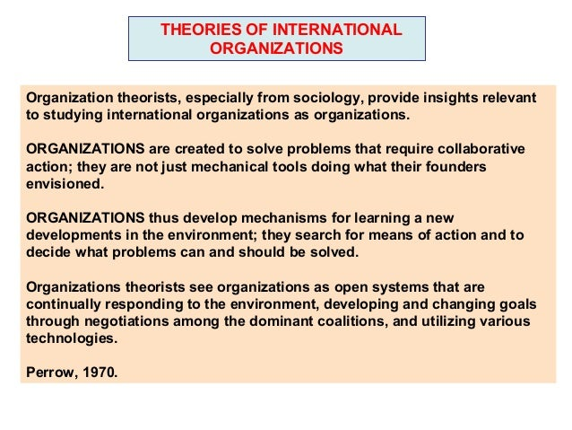 THEORIES OF INTERNATIONAL                         ORGANIZATIONSOrganization theorists, especially from sociology, provide ...