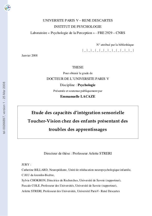 UNIVERSITE PARIS V – RENE DESCARTES INSTITUT DE PSYCHOLOGIE Laboratoire « Psychologie de la Perception » - FRE 2929 – CNRS...