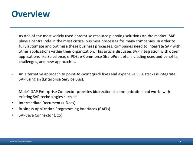 www.sanjeetpandey.com Overview - As one of the most widely used enterprise resource planning solutions on the market, SAP ...