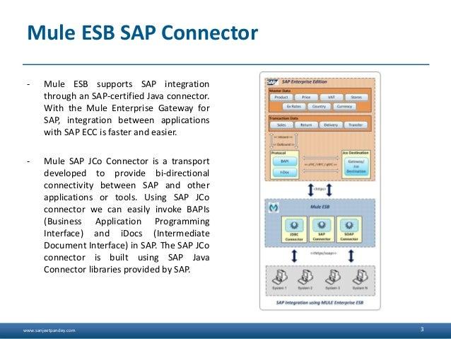www.sanjeetpandey.com Mule ESB SAP Connector - Mule ESB supports SAP integration through an SAP-certified Java connector. ...