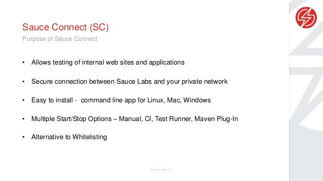 Integration with saucelabs over private network Slide 3