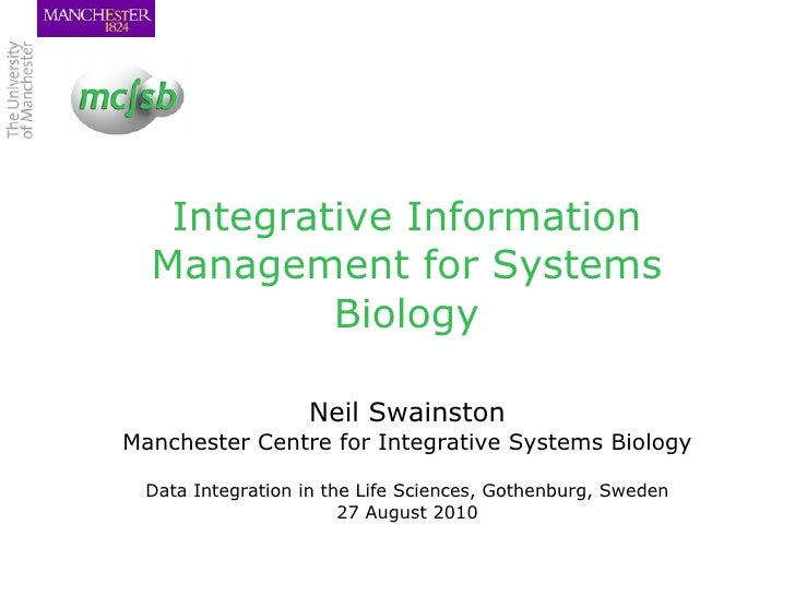 Integrative Information Management for Systems Biology <ul><li>Neil Swainston </li></ul><ul><li>Manchester Centre for Inte...