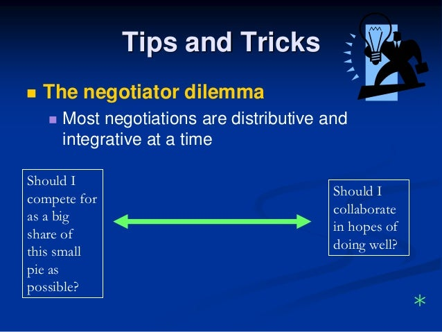 distributive vs integrative bargaining Wise negotiators recognize the value of both collaborating and competing at the  bargaining table they look for ways to increase the pie of.