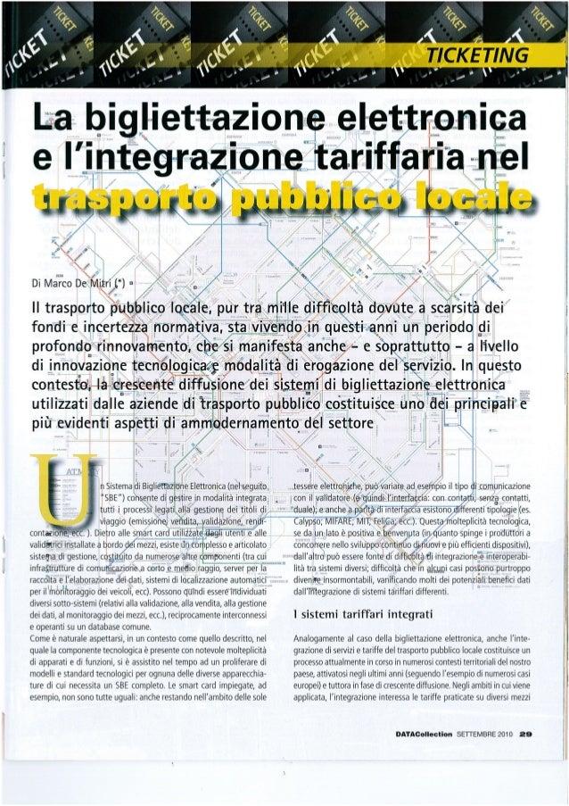 La bigliettazione elettronica e l'integrazione tariffaria nel trasporto pubblico locale