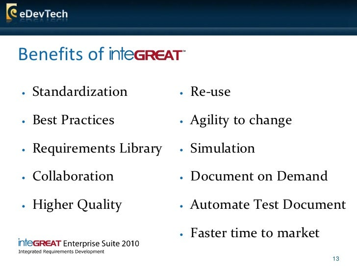 Benefits of    Standardization           Re-use     Best Practices            Agility to change     Requirements Libr...