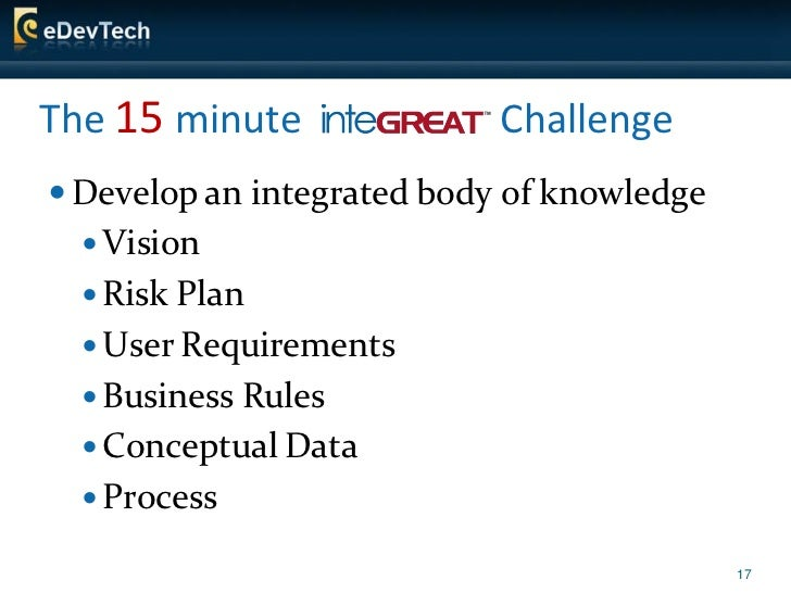 The 15 minute               Challenge  Develop an integrated body of knowledge    Vision    Risk Plan    User Requirem...