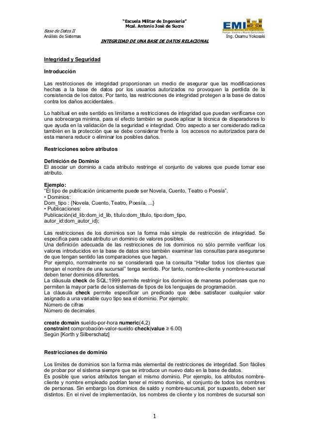 """""""Escuela Militar de Ingeniería""""                                   Mcal. Antonio José de SucreBase de Datos IIAnálisis de S..."""