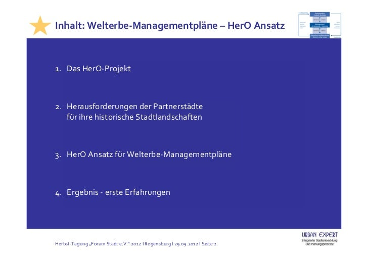 Integrierte Welterbe-Managementpläne (Tagung, Regensburg, 29.09.2012) Slide 2