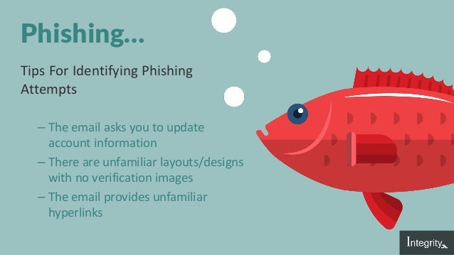 Phishing… Tips For Identifying Phishing Attempts – The email asks you to update account information – There are unfamiliar...