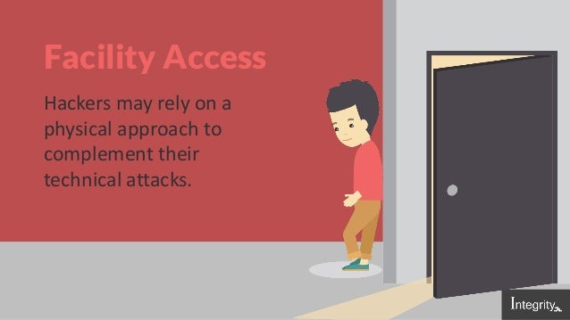 Facility Access Hackers may rely on a physical approach to complement their technical attacks.