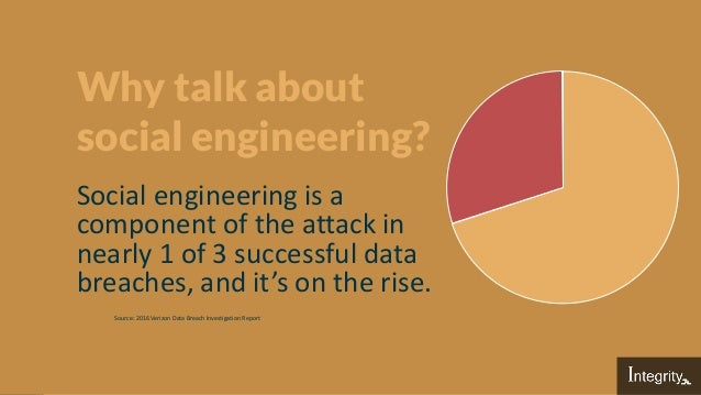 Why talk about social engineering? Social engineering is a component of the attack in nearly 1 of 3 successful data breach...