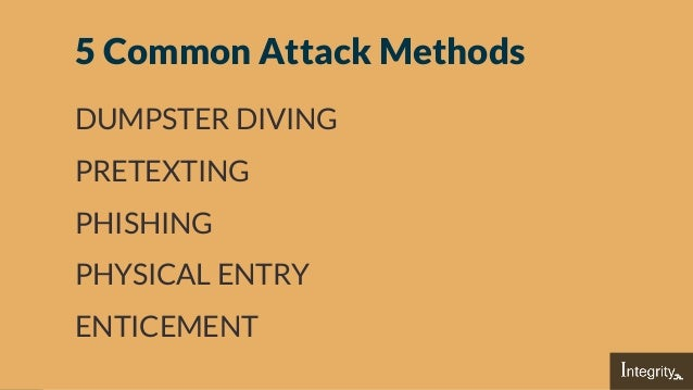 5 Common Attack Methods DUMPSTER DIVING PRETEXTING PHISHING PHYSICAL ENTRY ENTICEMENT