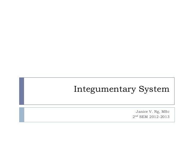 Integumentary SystemJanice V. Ng, MSc2nd SEM 2012-2013