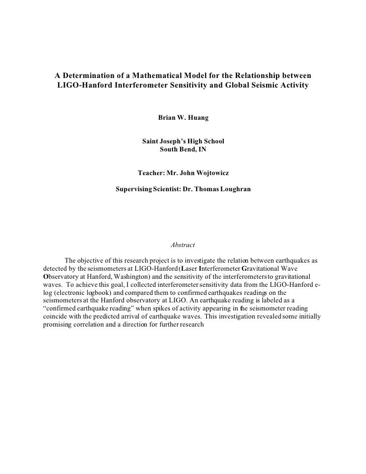 A Determination of a Mathematical Model for the Relationship between     LIGO-Hanford Interferometer Sensitivity and Globa...