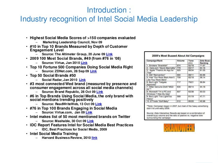 Introduction :Industry recognition of Intel Social Media Leadership • Highest Social Media Scores of >150 companies evalua...