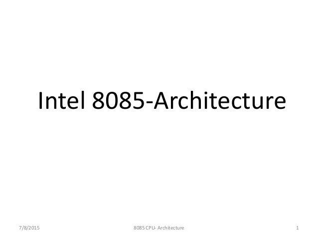 Intel 8085 architecture for Architecture 8085