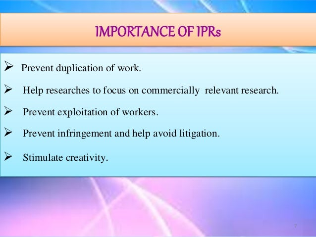 importance of intellectual property rights essay Intellectual property rights the intellectual property rights are of crucial important as without such protection there intellectual property.