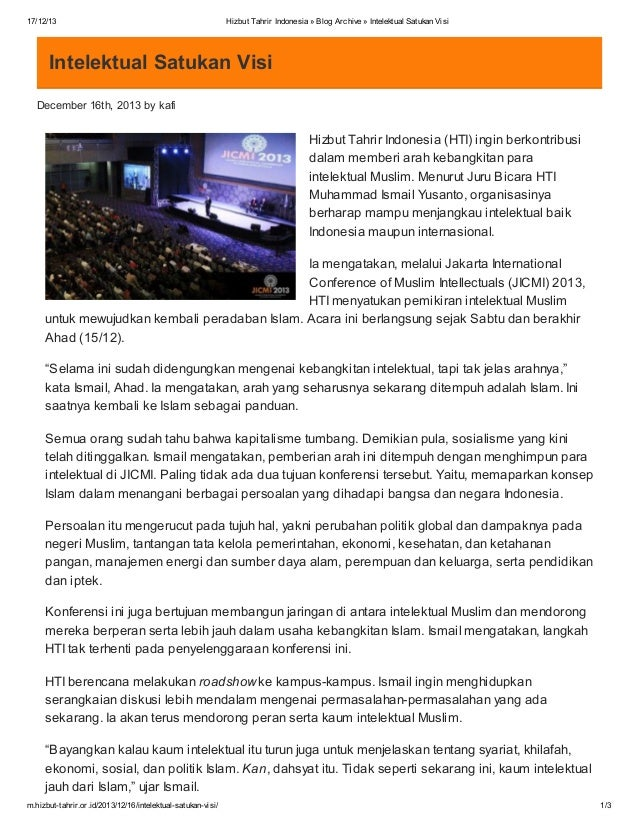 17/12/13  Hizbut Tahrir Indonesia » Blog Archive » Intelektual Satukan Visi  Intelektual Satukan Visi December 16th, 2013 ...