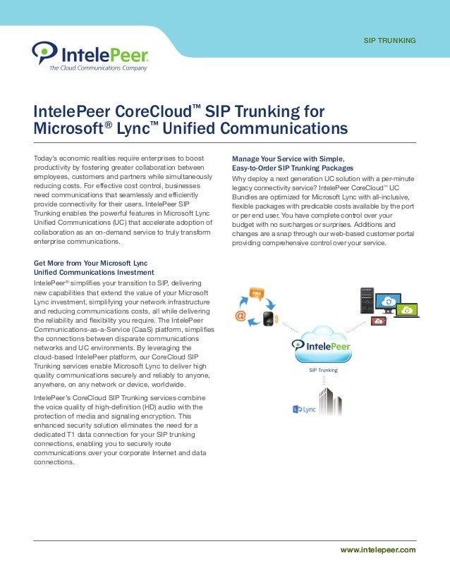 SIP TRUNKING www.intelepeer.comwww.intelepeer.com IntelePeer CoreCloud™ SIP Trunking for Microsoft® Lync™ Unified Communic...