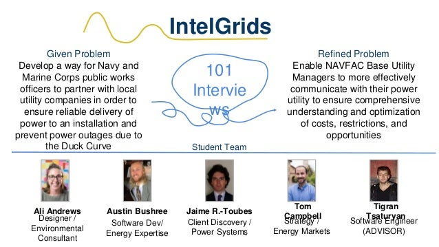 IntelGrids Given Problem Develop a way for Navy and Marine Corps public works officers to partner with local utility compa...