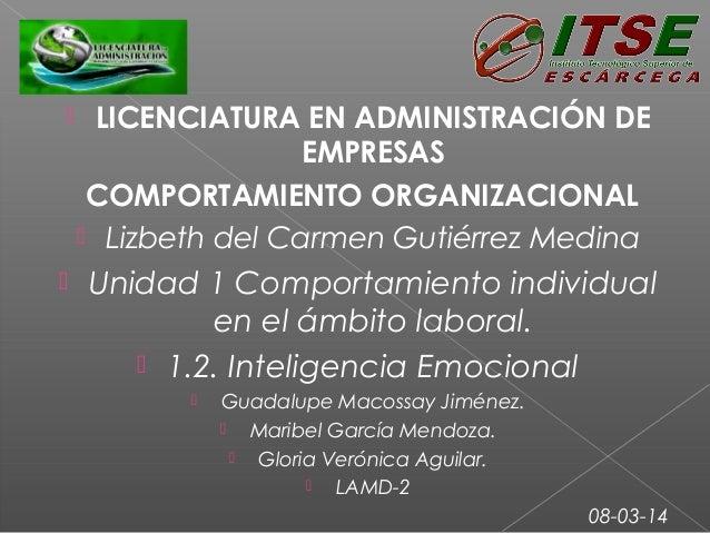  LICENCIATURA EN ADMINISTRACIÓN DE EMPRESAS COMPORTAMIENTO ORGANIZACIONAL  Lizbeth del Carmen Gutiérrez Medina  Unidad...