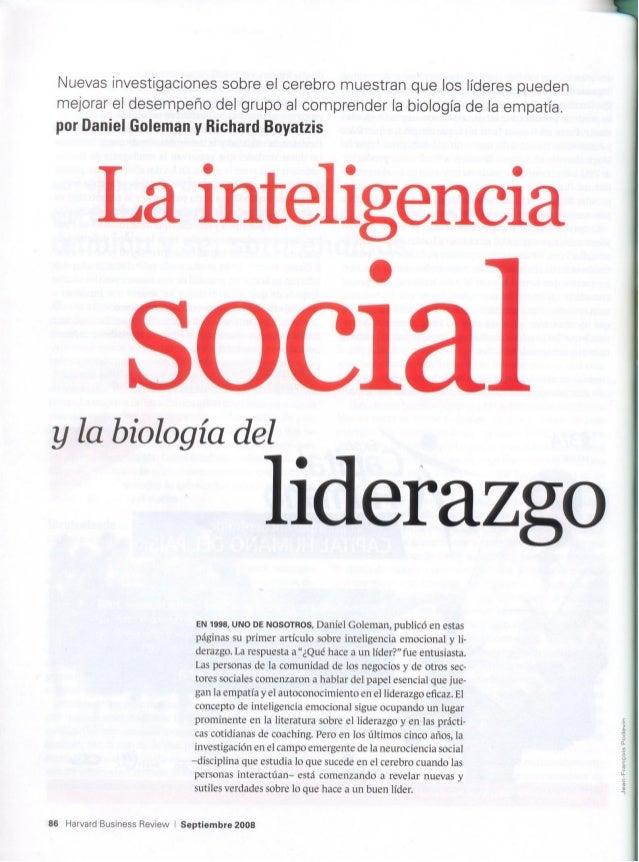 Inteligencia social y biología del liderazgo