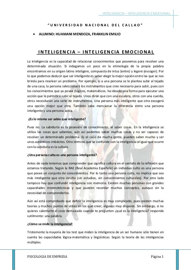 """INTELIGENCIA – INTELIGENCIA EMOCIONAL              """"UNIVERSIDAD NACIONAL DEL CALLAO""""        ALUMNO: HUAMANI MENDOZA, FRANK..."""