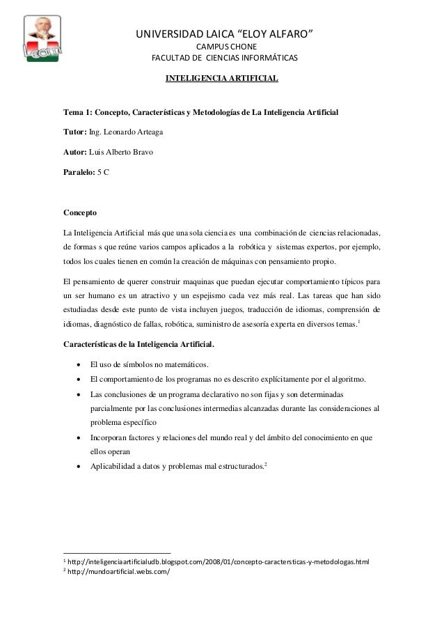 """UNIVERSIDAD LAICA """"ELOY ALFARO"""" CAMPUS CHONE FACULTAD DE CIENCIAS INFORMÁTICAS INTELIGENCIA ARTIFICIAL Tema 1: Concepto, C..."""