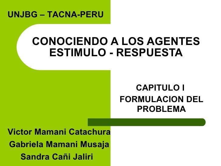 CONOCIENDO A LOS AGENTES ESTIMULO - RESPUESTA CAPITULO I  FORMULACION DEL PROBLEMA UNJBG – TACNA-PERU Victor Mamani Catach...
