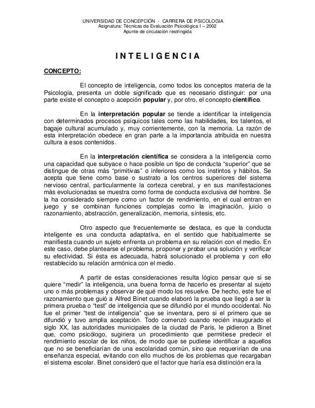UNIVERSIDAD DE CONCEPCIÓN - CARRERA DE PSICOLOGIA Asignatura: Técnicas de Evaluación Psicológica I – 2002 Apunte de circul...