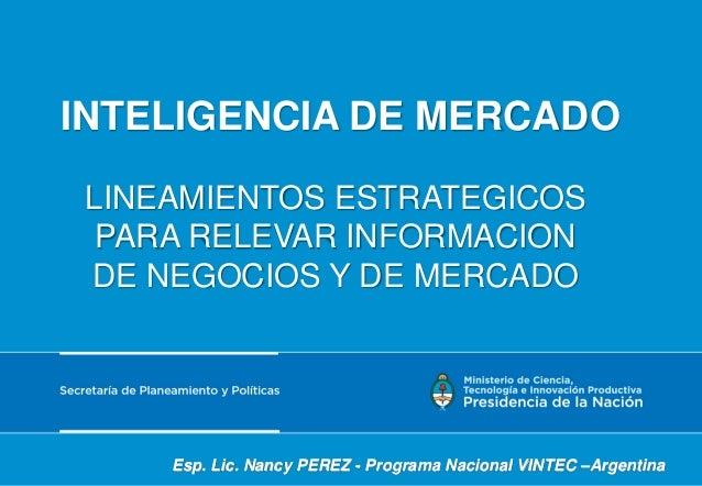 INTELIGENCIA DE MERCADO LINEAMIENTOS ESTRATEGICOS PARA RELEVAR INFORMACION DE NEGOCIOS Y DE MERCADO Esp. Lic. Nancy PEREZ ...