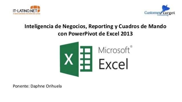 Inteligencia de Negocios, Reporting y Cuadros de Mando con PowerPivot de Excel 2013 Ponente: Daphne Orihuela