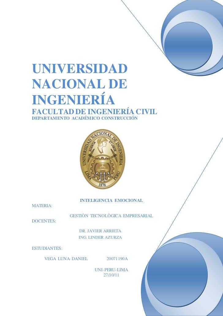 UNIVERSIDADNACIONAL DEINGENIERÍAFACULTAD DE INGENIERÍA CIVILDEPARTAMENTO ACADÉMICO CONSTRUCCIÓN                  INTELIGEN...