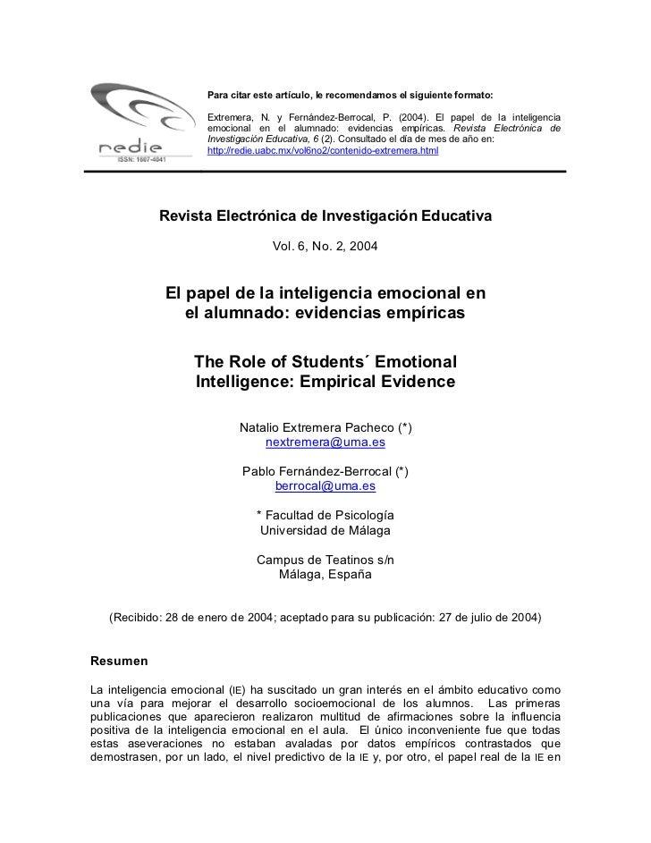 Para citar este artículo, le recomendamos el siguiente formato:                       Extremera, N. y Fernández-Berrocal, ...