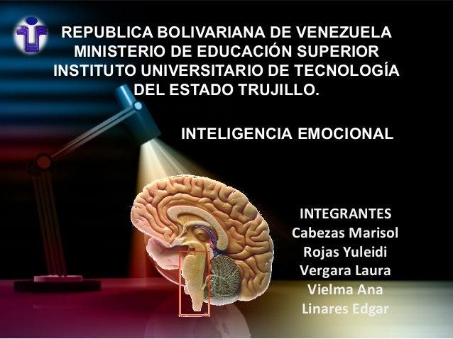 REPUBLICA BOLIVARIANA DE VENEZUELA MINISTERIO DE EDUCACIÓN SUPERIOR INSTITUTO UNIVERSITARIO DE TECNOLOGÍA DEL ESTADO TRUJI...
