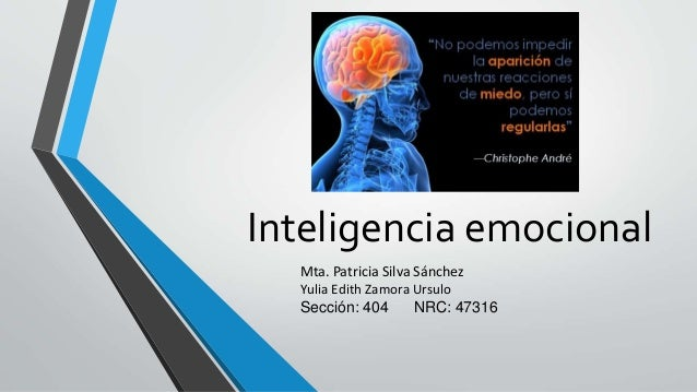 Inteligencia emocional Mta. Patricia Silva Sánchez Yulia Edith Zamora Ursulo Sección: 404 NRC: 47316