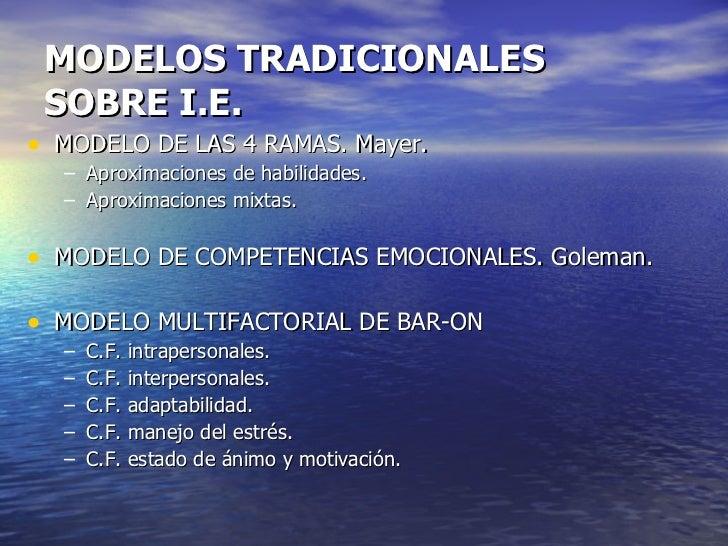 MODELOS TRADICIONALES  SOBRE I.E. <ul><li>MODELO DE LAS 4 RAMAS. Mayer. </li></ul><ul><ul><li>Aproximaciones de habilidade...