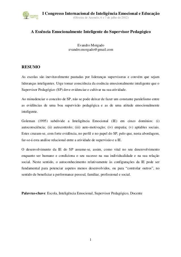 I Congresso Internacional de Inteligência Emocional e Educação                                    (Oliveira de Azeméis, 6 ...