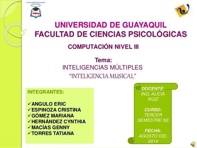 """UNIVERSIDAD DE GUAYAQUIL  FACULTAD DE CIENCIAS PSICOLÓGICAS  COMPUTACIÓN NIVEL III  Tema:  INTELIGENCIAS MÚLTIPLES  """"INTEL..."""