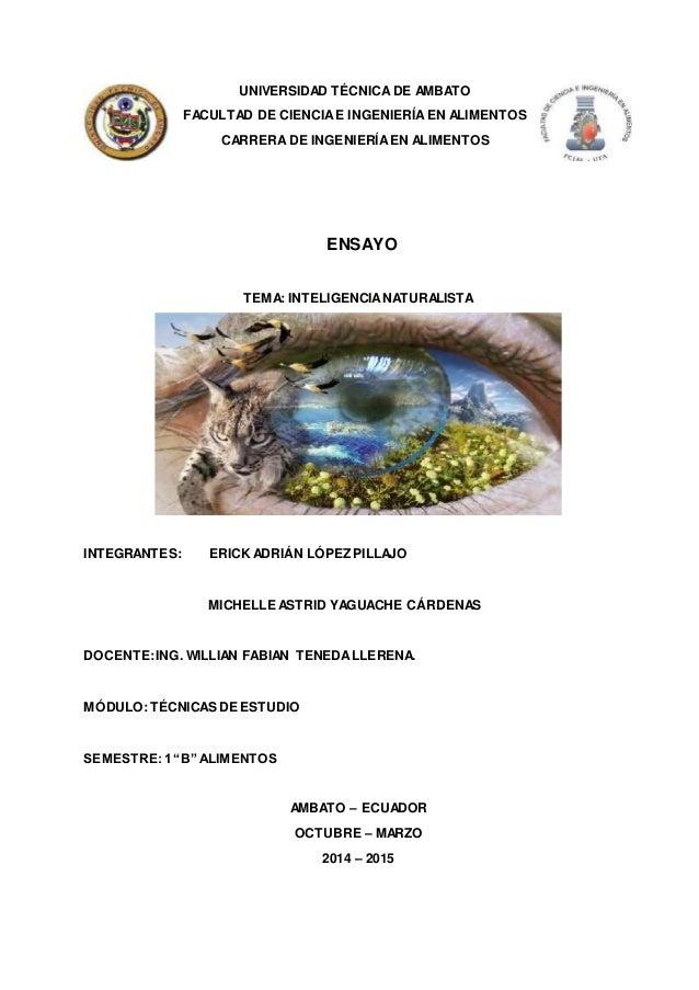 UNIVERSIDAD TÉCNICA DE AMBATO  FACULTAD DE CIENCIA E INGENIERÍA EN ALIMENTOS  CARRERA DE INGENIERÍA EN ALIMENTOS  ENSAYO  ...
