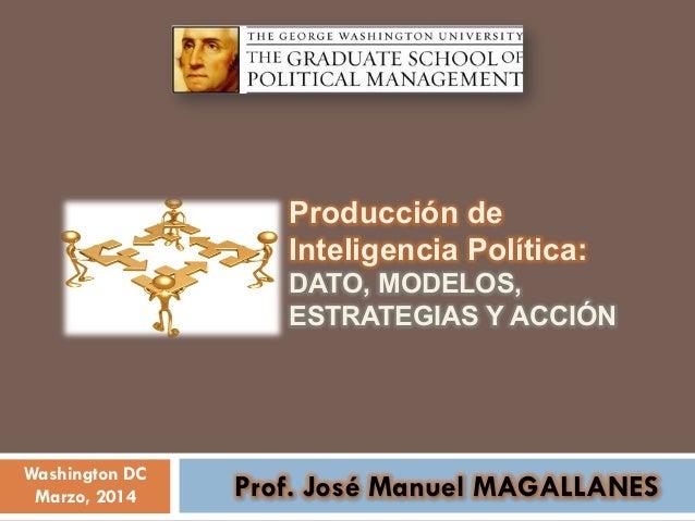 Washington DC Marzo, 2014 Prof. José Manuel MAGALLANES Producción de Inteligencia Política: DATO, MODELOS, ESTRATEGIAS Y A...