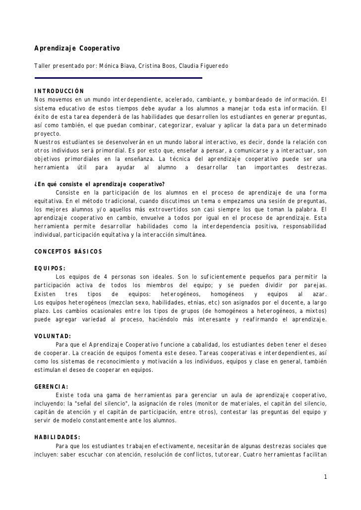 Aprendizaje Cooperativo  Taller presentado por: Mónica Biava, Cristina Boos, Claudia Figueredo    INTRODUCCIÓN Nos movemos...