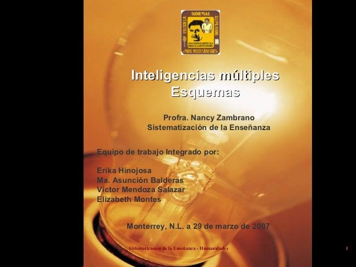 Inteligencias múltiples Esquemas Profra. Nancy Zambrano Sistematización de la Enseñanza Equipo de trabajo Integrado por: E...