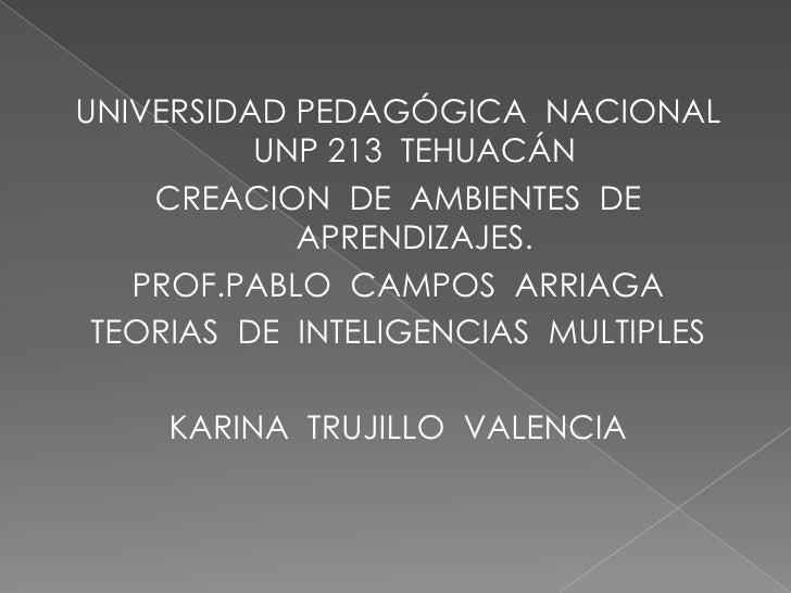 UNIVERSIDAD PEDAGÓGICA  NACIONAL    UNP 213  TEHUACÁN<br />CREACION  DE  AMBIENTES  DE  APRENDIZAJES.<br />PROF.PABLO  CAM...