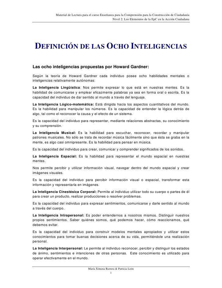 Material de Lectura para el curso Enseñanza para la Comprensión para la Construcción de Ciudadanía                        ...
