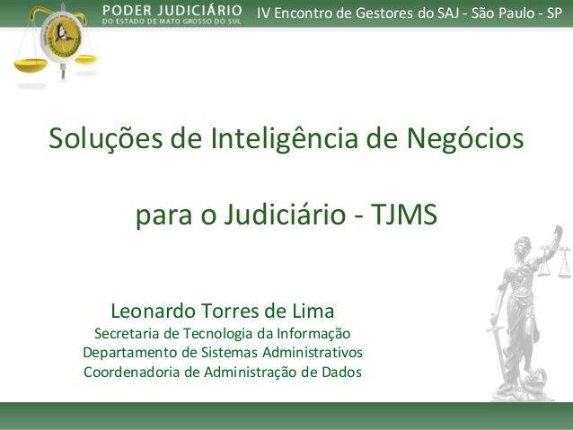 Soluções de Inteligência de Negócios para o Judiciário -TJMS  IV Encontro de Gestores do SAJ -São Paulo -SP  Leonardo Torr...