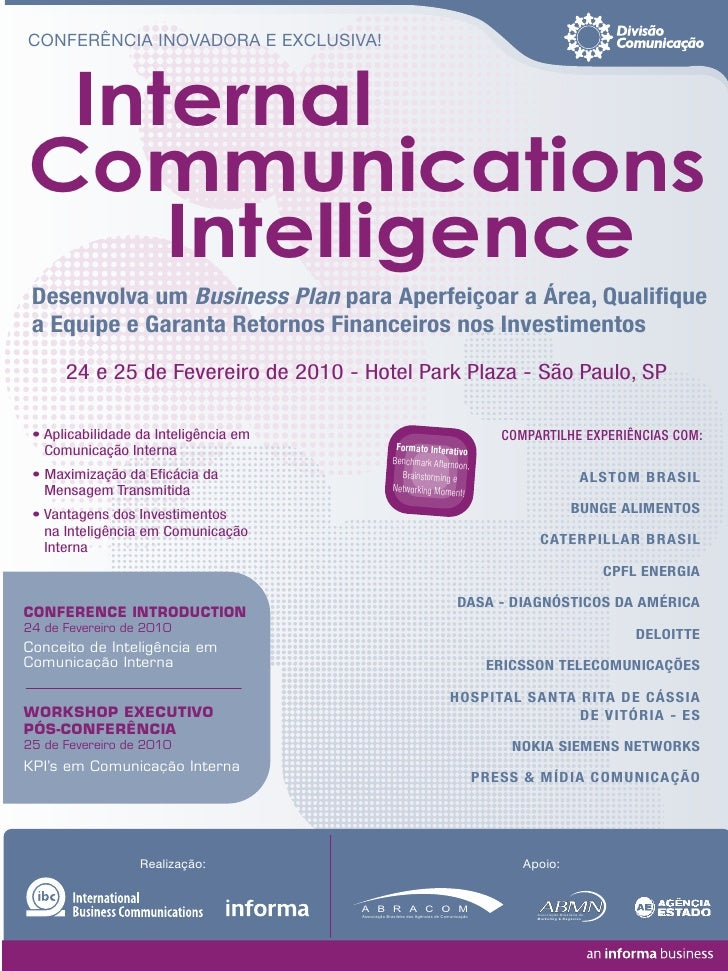 CONFERÊNCIA INOVADORA E EXCLUSIVA!     Internal Communications     Intelligence  Desenvolva um Business Plan para Aperfeiç...